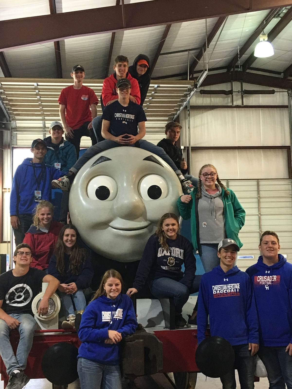 Students with Thomas the Train