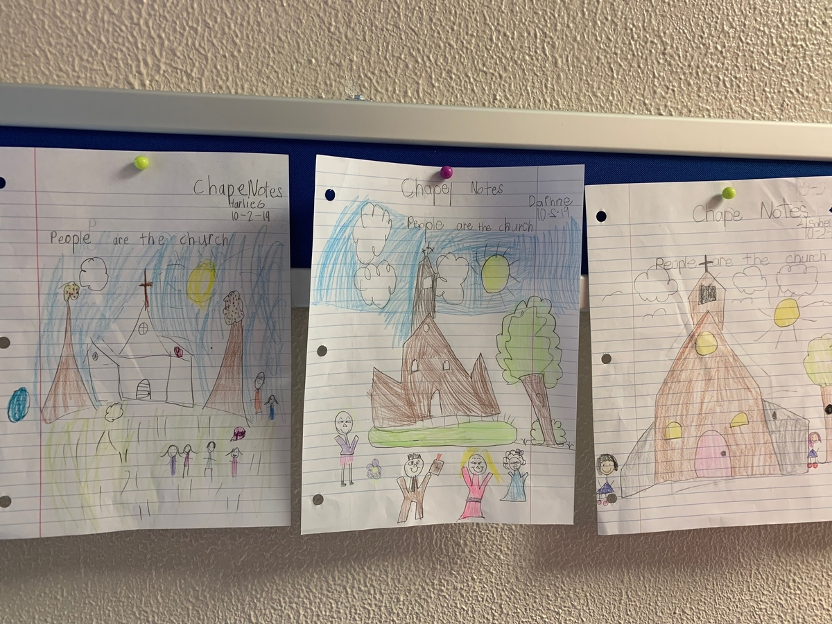 Kids drawing of church