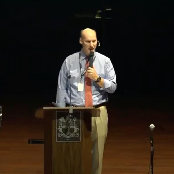 Mr. Ferguson speaking in chapel